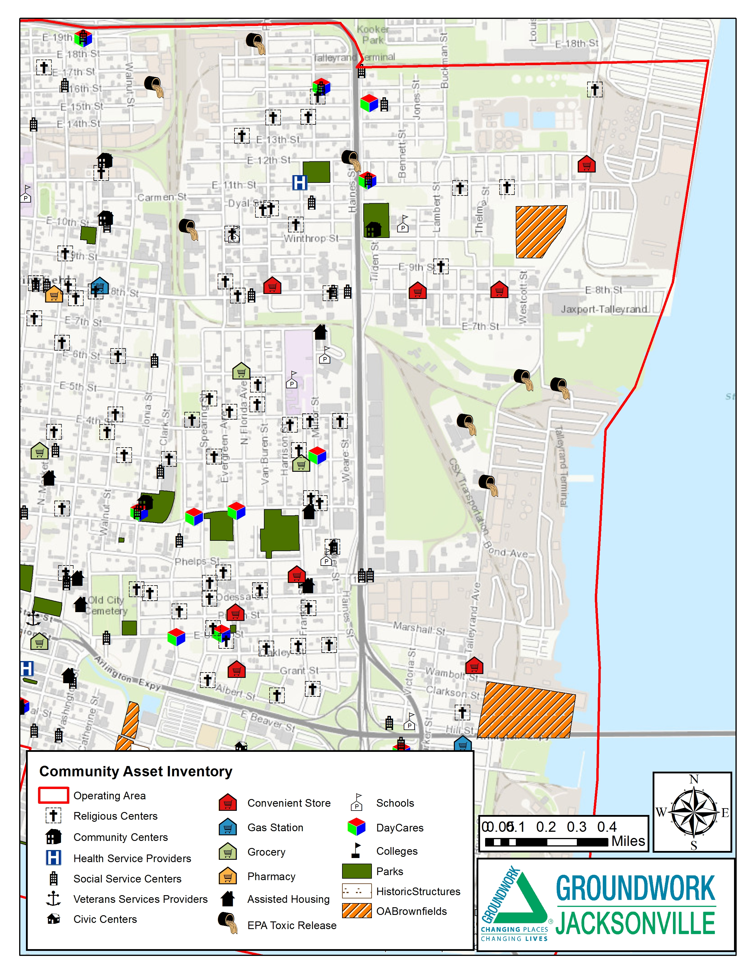 Jacksonville Florida Map.Historic Springfield Eastside Asset Maps Groundwork Jacksonville